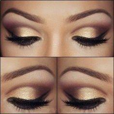 Golden smokey eye make up Gold Eye Makeup, Kiss Makeup, Hair Makeup, Prom Makeup, Bridesmaid Makeup, Dance Makeup, Formal Makeup, Night Makeup, Makeup To Go With Black Dress