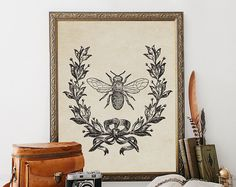 French Country, Vintage Bee, Printable, french country decor, french vintage, french country cottage, french decor, victorian art, bee decor