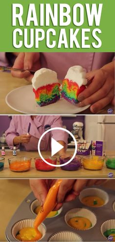Have fun with your cupcake batter! Look at the cool patterns you can bake just by piping different color batters in the baking cup using a cut disposable bag.  Use Wilton® Color Right™ Performance Color System to make these Rainbow Cupcakes!