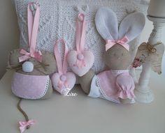 Ratoncita Perèz para guardar los dientes, corazones mini para colgar en pomos de armario infantil y conejita bebé( mi versión del modelo Un mundo di fantasia)