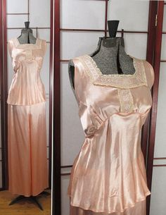 Flirty 1940s Satin and Lace Pajamas -these are cute, but i would need a floor length sheer robe to go with it and fuzzy slippers