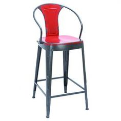 """Industrial-inspired stool.Product: BarstoolConstruction Material: MetalColor: Fire engine redDimensions: 43"""" H x 20"""" W x 16"""" D"""