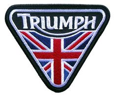 Triumph Motorcycle Union Jack Patent Plate -Embroidered Iron-On Biker Patch