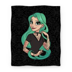 Punk Rapunzel Blanket - This long-haired beauty isn't staying in her tower, she's a punk rock princess and a rebel at heart. Rapunzel's got a brand new look, from her dye job to her colorful tattoos and piercings. She's definitely not a sweet Disney princess anymore.