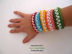 Free crochet patterns and DIY, crochet charts: ZigZag Bracelets Crochet Chart, Crochet Motif, Knit Crochet, Crochet Patterns, Quick Crochet, Crochet For Kids, Free Crochet, Jewelry Patterns, Bracelet Patterns