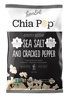 LesserEvil Chia Pop Organic Popcorn NonGMO Gluten Free Gourmet Popcorn  Healthy Snack With Chia Seeds Salt and Cracked Pepper 5 Ounce Pack of 12 -- For more information, visit image link.