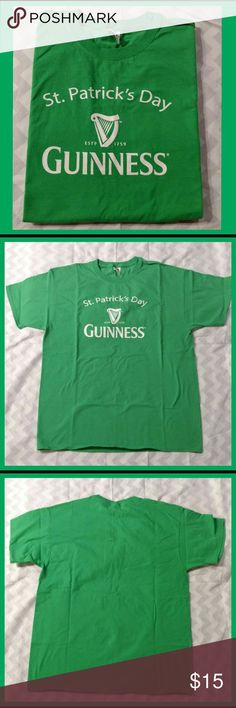 "NWOT.  Guinness St. Patrick's Day Tee-shirt Perfect for St. Patrick's Day! ""Guinness"" tee-shirt. 100% cotton. Comfortable and easy care. Brand: Fruit of the Loom. New without tag; not worn, but washed. Very good/excellent condition. Discount available with bundle purchase. Fruit of the Loom Tops Tees - Short Sleeve"