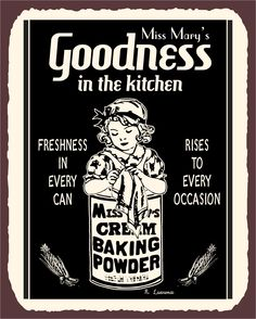 Miss Marys Baking Powder Vintage Metal Art Retro Kitchen Tin Sign