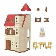 [SF] Red Roof Tower Home buy on Sylvanian Families. , offer Sylvanian Families at discounted rate in Sylvanian Families Mattel Barbie, Cosy Cottage, Le Cosy, Calico Critters Families, Station Essence, 3 Storey House, Muñeca Diy, Red Roof House, Huge Houses