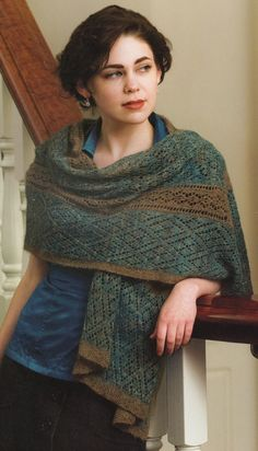 "Qiviut shawl made by Alice Scherp from ""Successful Lace Knitting"" by Donna Drachunas"