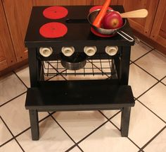 Oh my gosh! What a great idea! Hacking a Bekvam stool from Ikea, and creating a kids play stove that looks great, and costs less than $25 to make...if you buy it all brand new? Awesome!