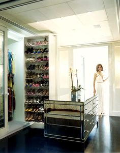 Heather Kerzner (wearing Roberto Cavalli) in her meticulously organized wardrobe area, as shown in Harper b
