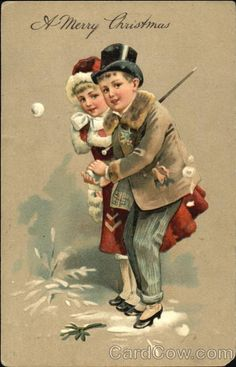 Young couple throwing snowballs Series 7107 A Merry Christmas