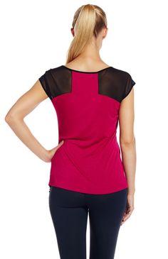 Tsu.ya by Kristi Yamaguchi - Helena Tee in Sterling [Short sleeve tee with contrast mesh inserts at shoulders and sleeves]  #tsuyabrand #kristiyamaguchi #tsuyastyle #fallfashion #womensfashion #womensactivewear #activetee #helenatee
