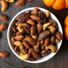 These Salty Sweet Pumpkin Spice Nuts are easy to make and totally addictive. They make a perfect holiday or hostess gift! Nut Recipes, Fall Recipes, Holiday Recipes, Snack Recipes, Dessert Recipes, Holiday Treats, Party Snacks, Appetizers For Party, Baked Smores