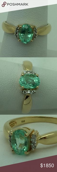 Paraiba tourmaline 18k diamond ring natural authentic 100% Paraiba tourmaline from Brasil i. bought my self in the state of Paraiba in Brasil, fantastic stone sparkling a lot!!! light grin color around 1 carat just the tourmaline set with 6 diamonds in 18 kt gold ring, this ring is old 8 years wen u can buy normal price weigt 4.0 grams, thanks hand made Jewelry Rings