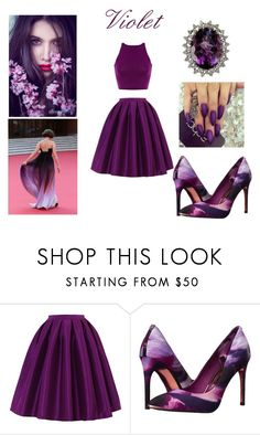 """""""Formal Violet Two-Piece"""" by princessviv123 ❤ liked on Polyvore featuring Chicwish and Ted Baker"""