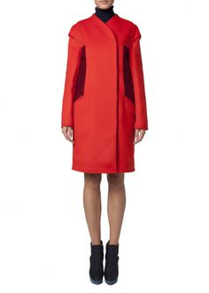 Love the styling of this, and such a great colour. Cape Shoulder Coat - Coats & Jackets - Matthew Williamson