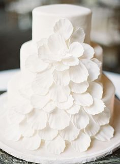 Elegant White Petal Wedding Cake | Marissa Lambert Photography | White Peonies and Floral Lace for a Classic New Orleans Wedding