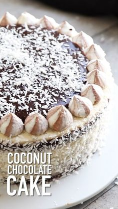 This coconut chocolate cake is soft moist and creamy lots of step by step photos and video coconut chocolate cake recipe by also the crumbs please chocolate coconut cake chocolatecake coconutcake coconutchocolatecake baking desserts creamy coconut dessert Easy Cheesecake Recipes, Cake Mix Recipes, Easy Cookie Recipes, Baking Recipes, Baking Desserts, Coconut Desserts, Easy Birthday Cake Recipes, Baking Cakes, Coconut Recipes
