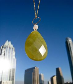 Olive Green Jade Necklace with Moonstone