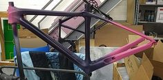Custom Paint Project we painted this Trek Domaine with magenta purple and pink with transition points throughout the frame as requested by our client another masterpiece from our paint team at CarbonWork for February 2017