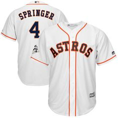 Men's Houston Astros George Springer Majestic White 2017 World Series Bound Cool Base Player Jersey