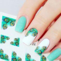 Naklejki 1,75 zł za arkusz - wzór nr 134⭐ #paznokcie #nailstagram #nails2inspire #nailart #nail #pazurki #piórka #feathernails #raisinsklep #paznokciehybrydowe #paznokciezelowe #mint #mintnails #love #polishgirl