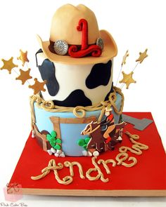 Andrew's 1st birthday Cowboy themed birthday cake!    #rodeo #first #birthday #cowboy #horse
