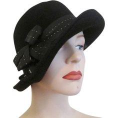 Black Cloche Hat Vintage 1960s Glenover Pollak Ribbon Bow