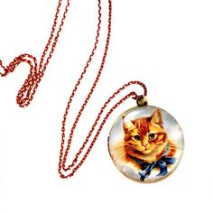 Orange Ginger Cat  with blue Bow Tie Antique Bronze Brass Photo Locket Pendant / Charm with beautiful red & gold stunning brass necklace