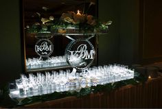 Champagne Glass Display with Monogram Ice Sculpture _Ice Sculpture _Wedding _Events