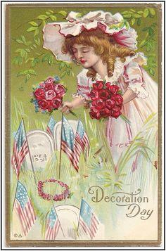 Vintage Memorial Day Postcard ~ Little Birdie Blessings History Of Memorial Day, Happy Memorial Day, Memorial Day Decorations, Patriotic Decorations, Patriotic Crafts, Grave Decorations, Patriotic Party, July Crafts, Vintage Postcards