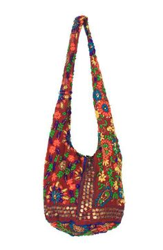 A handmade bohemian style Indian fabric shoulder tote bag