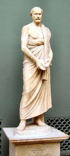 Demosthenes, romersk marmorkopi, Tidlig hellenistisk tid. Ny Carlsberg Glyptotek, København.