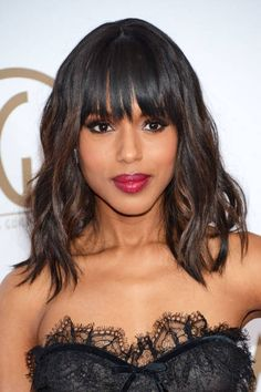Loose Waves & bangs on Kerry Washington, very sexy.