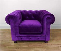 Velvet Chesterfield One Seat Sofa in Purple
