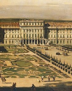 Bernardo Bellotto: Schönbrunn Palace viewed from the gardens, oil painting, Italian Painters, Italian Artist, Venetian Painters, Austro Hungarian, Historical Architecture, Grand Tour, Turin, Urban Landscape, Renoir