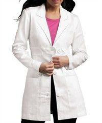 Style # P8617: WHITE: Peaches Scrubs Med Couture Belted Lab Coat
