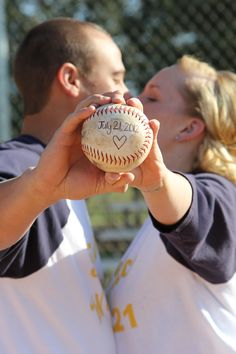 """A """"save-the-date"""" idea for those baseball and softball lovers! (I forgot to put my watermark on this picture)."""