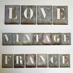 vintage French stencil letters complete alphabet – available at AtticAntics, $78.00 . . .