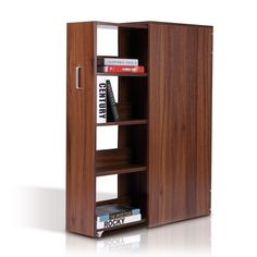 Wood Office Book Case 4 Tier Slide Out Door Shelves Storage Organiser Study Home