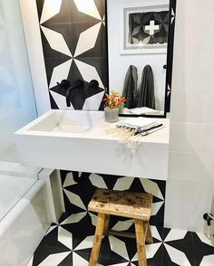 """516 Likes, 5 Comments - Cement Tile Shop (@cementtileshop) on Instagram: """"Unique look at the in stock Diamond White pattern paired with a concrete sink, wall mounted faucet…"""""""