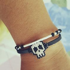 My work. Leather. Skull.. miyuki delica beads