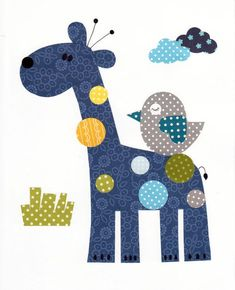Patchwork Giraffe Colorful Animal Nursery Artwork Print by Applique Templates, Applique Patterns, Applique Quilts, Applique Designs, Quilt Patterns, Embroidery Designs, Quilt Baby, Baby Applique, Patch Aplique