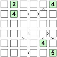 Number Logic Puzzles: 23074 - Futoshiki size 6