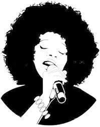 Beautiful Black Woman Singing Clip Art - Royalty Free Clipart Illustration