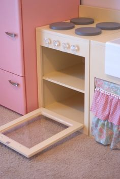 Vintage Inspired Play Kitchen.... rounded out door edge/hardware
