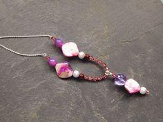 Purple beaded necklace Purple jewelry for her by handmadebystrawb