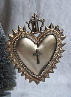 Ex voto sacred heart ornament christmas ornament ex voto ornament sacred heart ornament holiday ornament from My Sweet Maison Ribbon Tattoos, Burning Love, I Love Heart, Fire Heart, Hail Mary, Heart Ornament, Religious Jewelry, Sacred Heart, Heart Art
